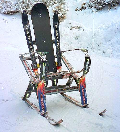 Как сделать из лыжи сани 78